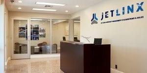 The reception desk at Jet Linx San Antonio's private terminal.