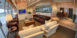 The luxury private terminal at Jet Linx Atlanta awaits private jet travelers.