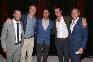 Isaac Flanagan, Eli Goldstein, Evan Morgan, Alec LeFort and Jamie Walker attend Jet Linx New York Grand Opening Event at Jet Linx on September 25, 2019 in Teterboro