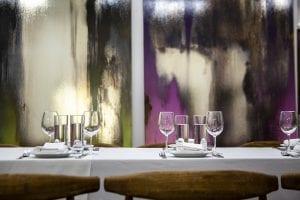 Fine dining table set up in New York art studio