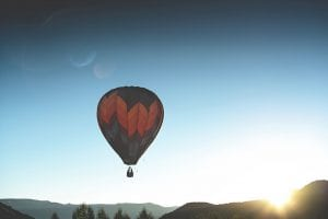 colorful hot air balloon floating over california