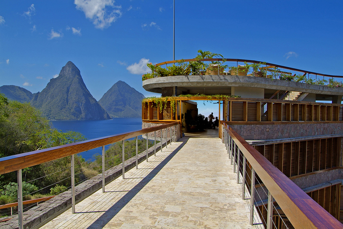 Caribbean      St. Lucia      Jade MountainClub entrance, Pitons in view