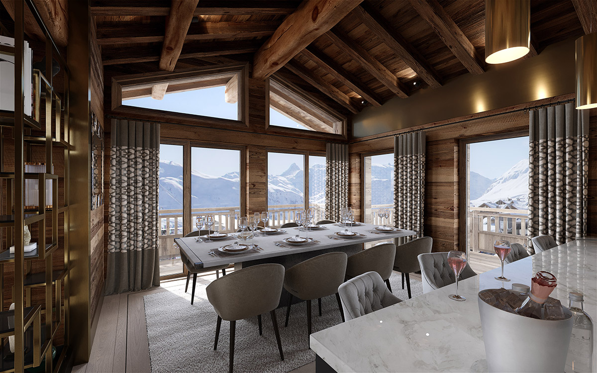 Ultima Courchevel Dining Room view - Lucy violin