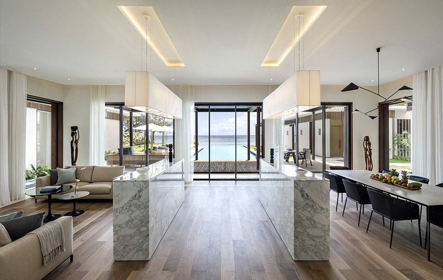 Beachfront Villa Livng and Dining Area